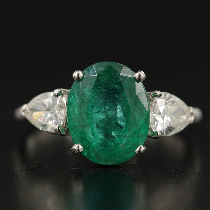 Platinum 3.54 CT Zambian Emerald and Diamond Ring with GIA Report