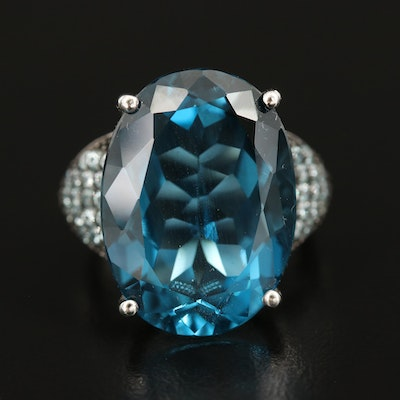 Sterling London and Sky Blue Topaz Statement Ring