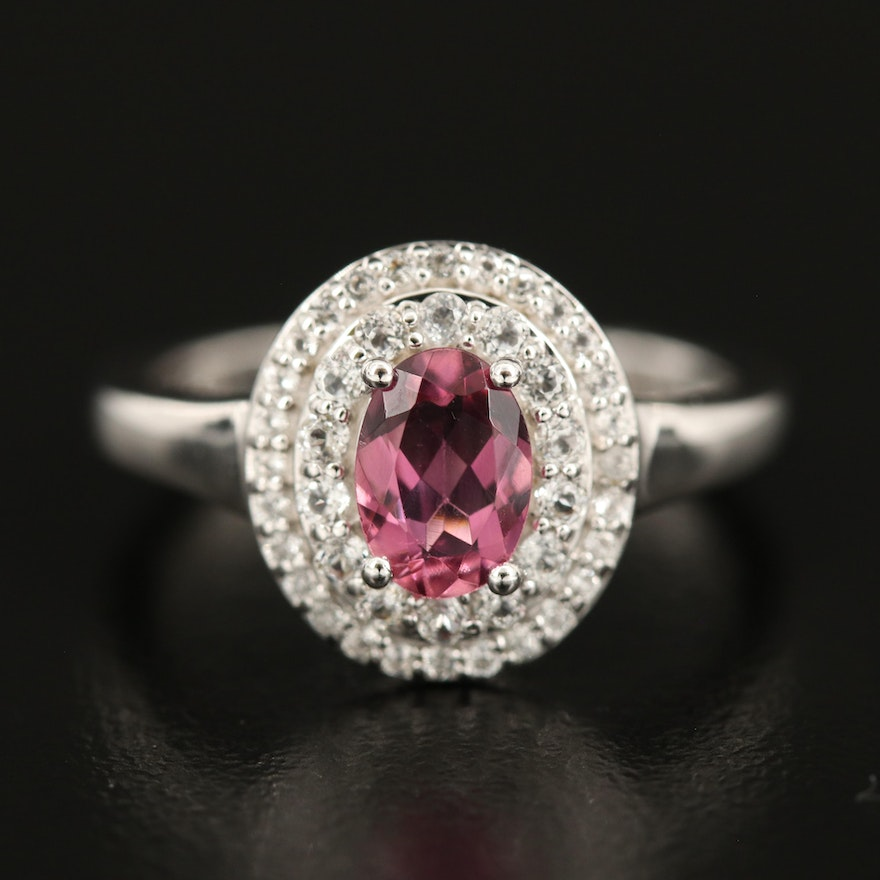 Sterling Pink Tourmaline and White Topaz Double Halo Ring