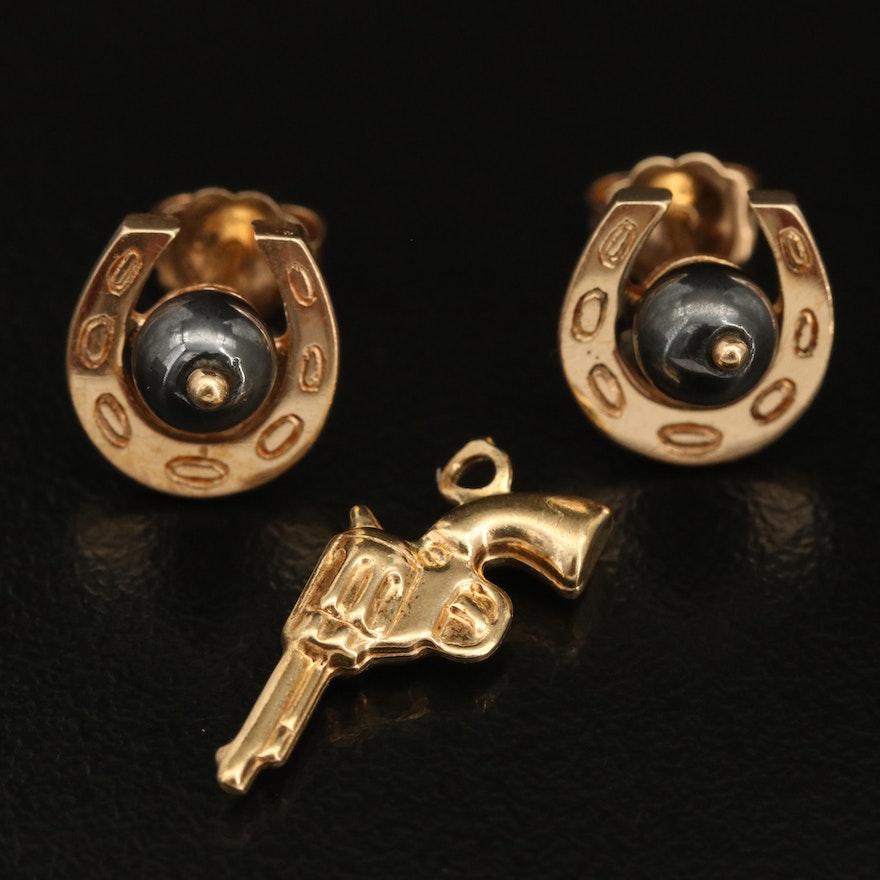 14K Horseshoe Hematite Earrings and 10K Pistol Charm