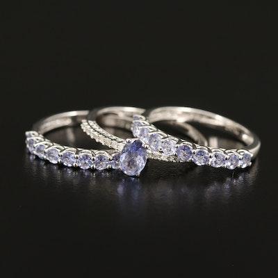 Sterling Tanzanite and Diamond Stacking Ring Set