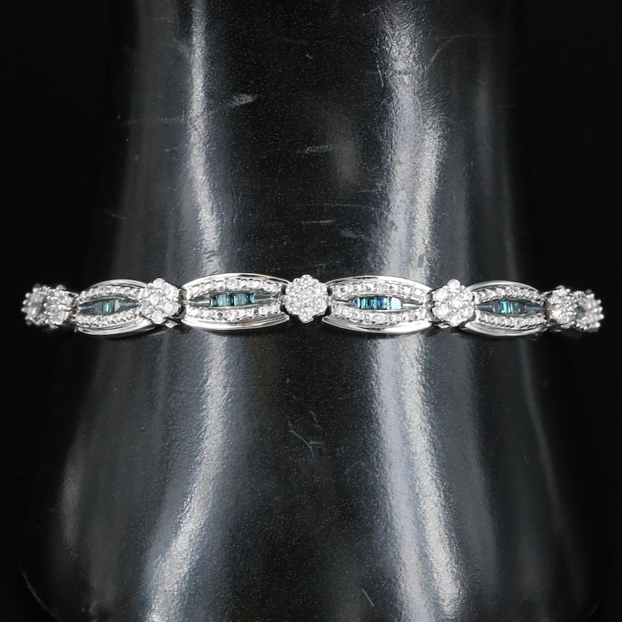 Sterling Diamond and Cubic Zirconia Channel and Cluster Link Bracelet