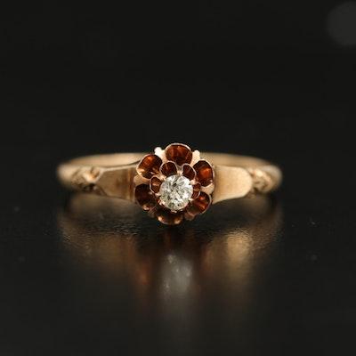 Antique 10K Diamond Buttercup Ring