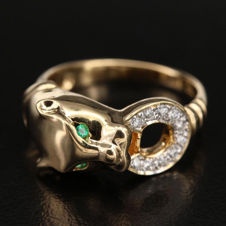 18K Emerald and Diamond Feline Door Knocker Ring