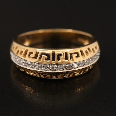 Sterling Zircon Band with Greek Key Detail