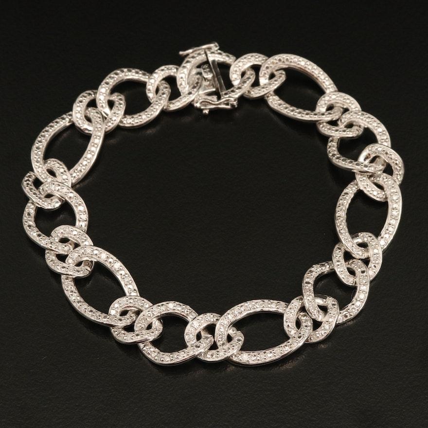 Sterling 1.00 CTW Diamond Chain Bracelet