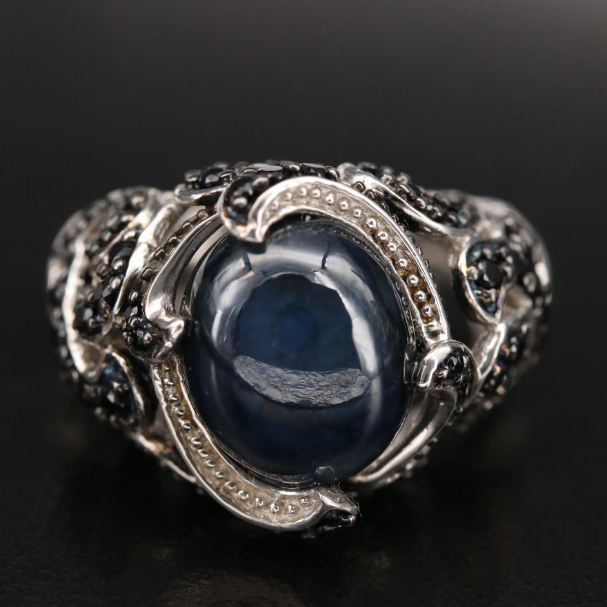 Sterling Sapphire and Spinel Openwork Ring