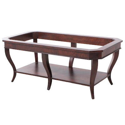 Ethan Allen Flame Mahogany Glass Top Coffee Table