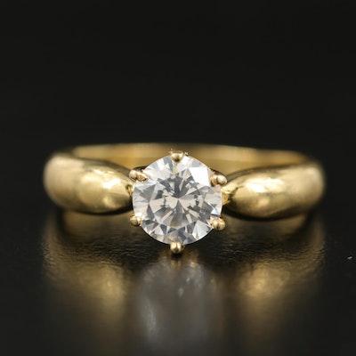 18K Cubic Zirconia Solitaire Ring