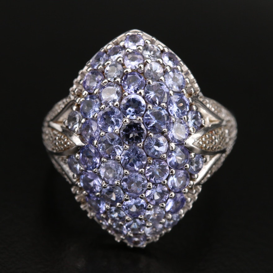 Sterling Pavé Tanzanite and Diamond Ring with Lotus Shoulders