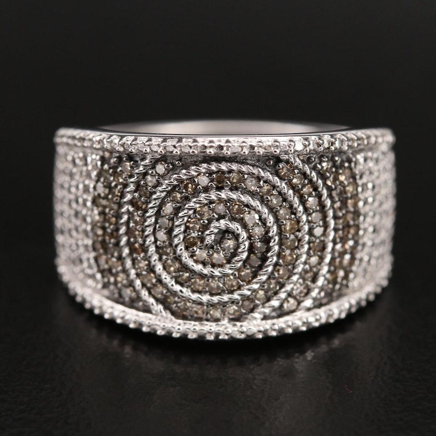 Sterling Diamond Spiral Ring
