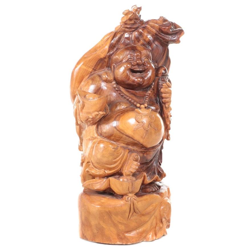 Carved Teak Budai Statuette