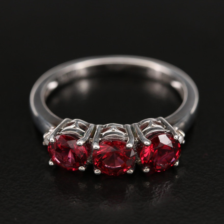 Sterling Spinel and Diamond Ring with Openwork Gallery