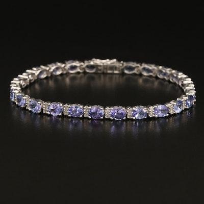 Sterling Tanzanite and Diamond Line Bracelet