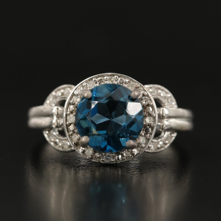 Sterling London Blue Topaz and Diamond Halo Ring