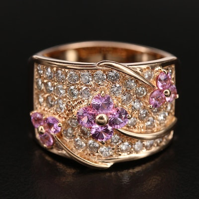 18K Sapphire and 1.15 CTW Diamond Floral Ring