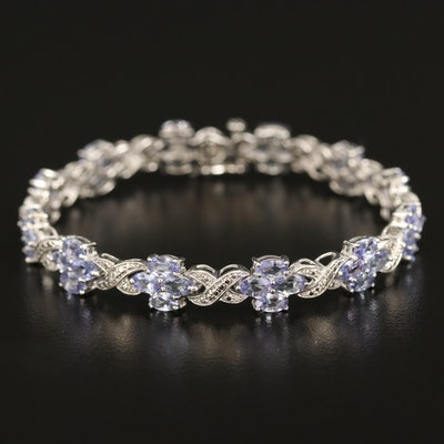 Sterling Tanzanite Infinity Bracelet