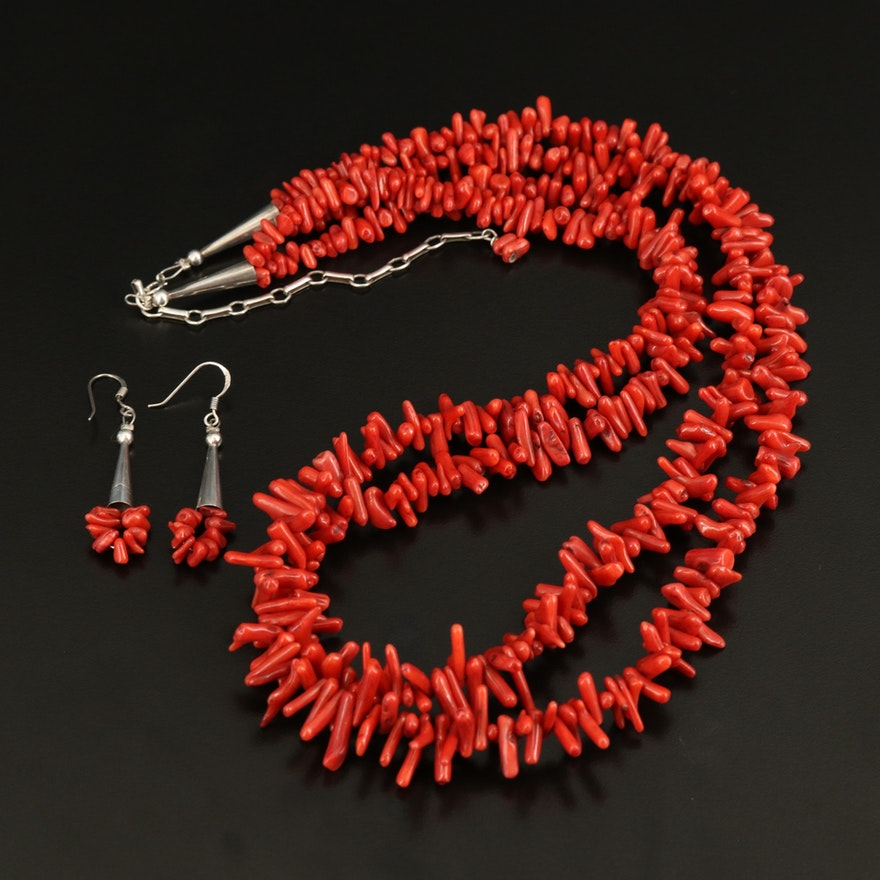 Sterling Multi-Strand Coral Necklace and Earring Set