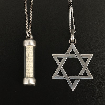 Sterling Star of David and Mezuzah Pendant Necklaces