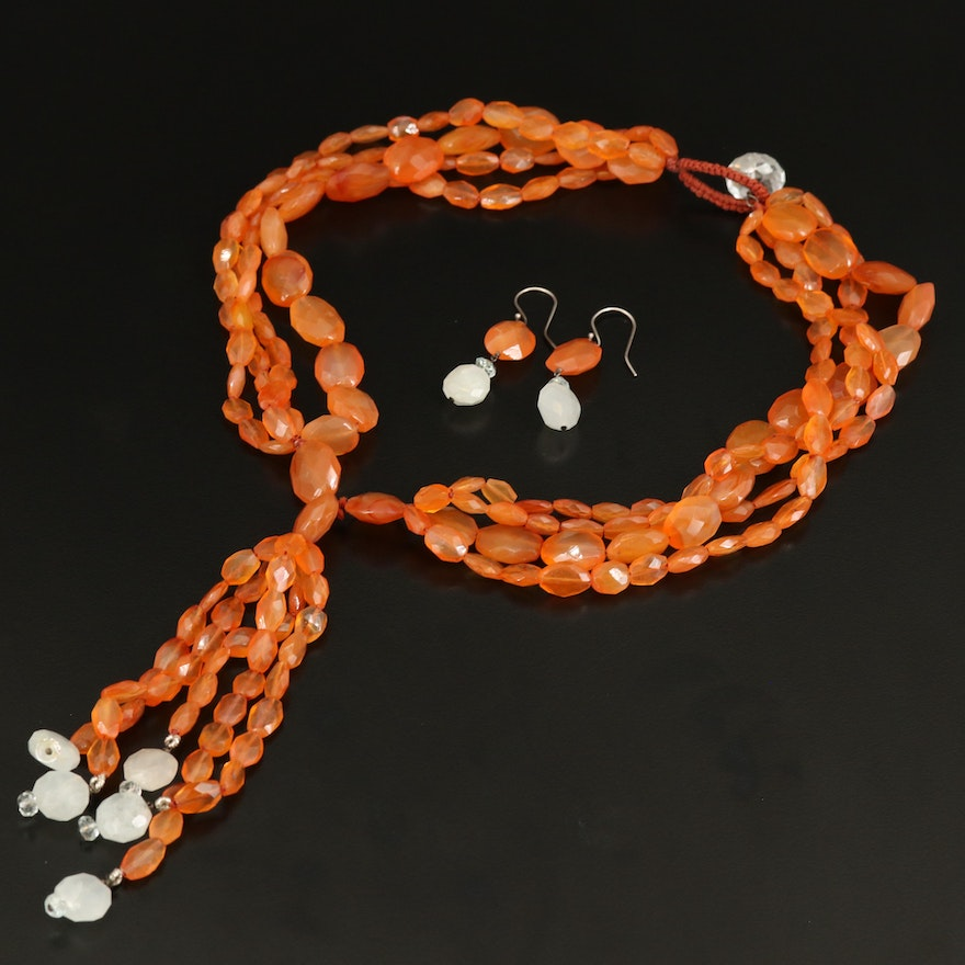 Carnelian Sautoir Necklace and Earrings with Sterling and Rock Quartz Crystal