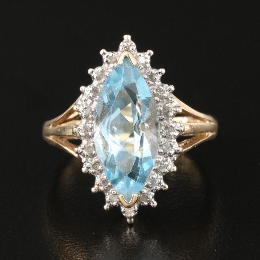 10K Sky Blue Topaz and Diamond Navette Ring