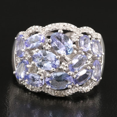 Sterling Tanzanite and Diamond Cluster Ring