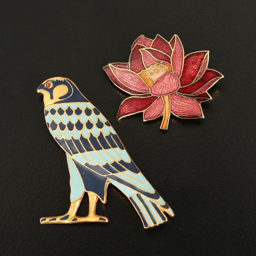 Metropolitan Museum of Art Egyptian Revival Falcon Brooch with Flower Brooch