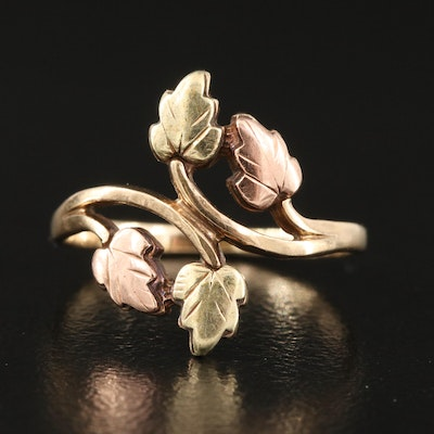 Colman Black Hills Gold 10K Foliate Ring with Rose and Green Gold Accents