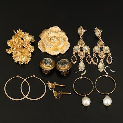 Earrings, Brooch, Pendant and Shirt Studs Featuring Christian Dior and Pearls