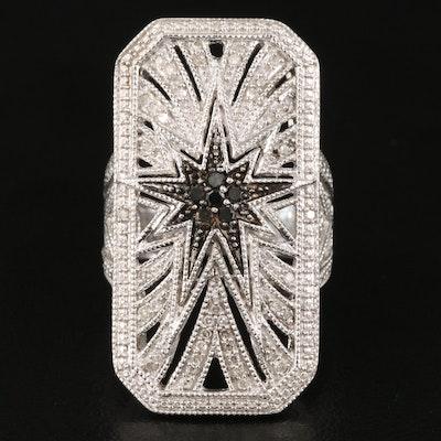 Sterling Silver Diamond Enneagram Star Pointer Ring