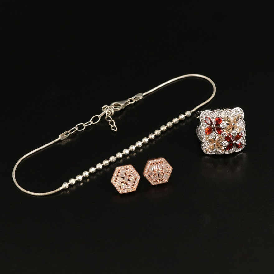 Sterling Ring, Anklet and Hexagonal Earrings