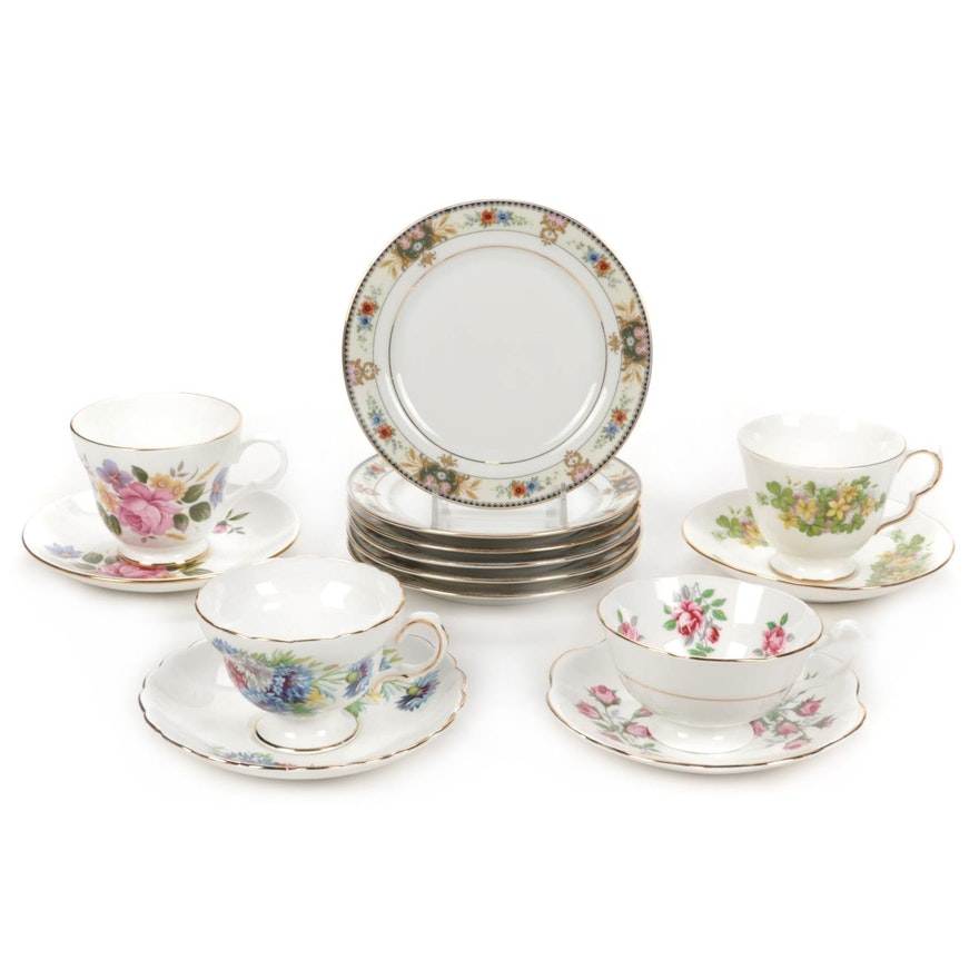 Royal Grafton, Stafforshire and Altwasser Bone China Teacups and Saucers