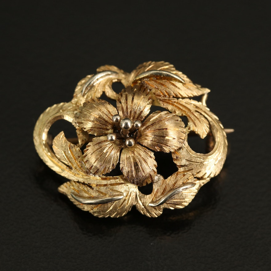 18K Flower Brooch with Textured Finish