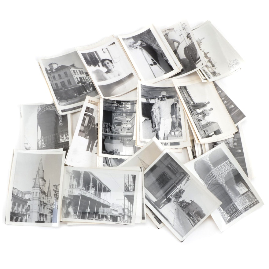 Family Portrait and New Orleans Travel Silver Gelatin Prints, Mid-20th Century