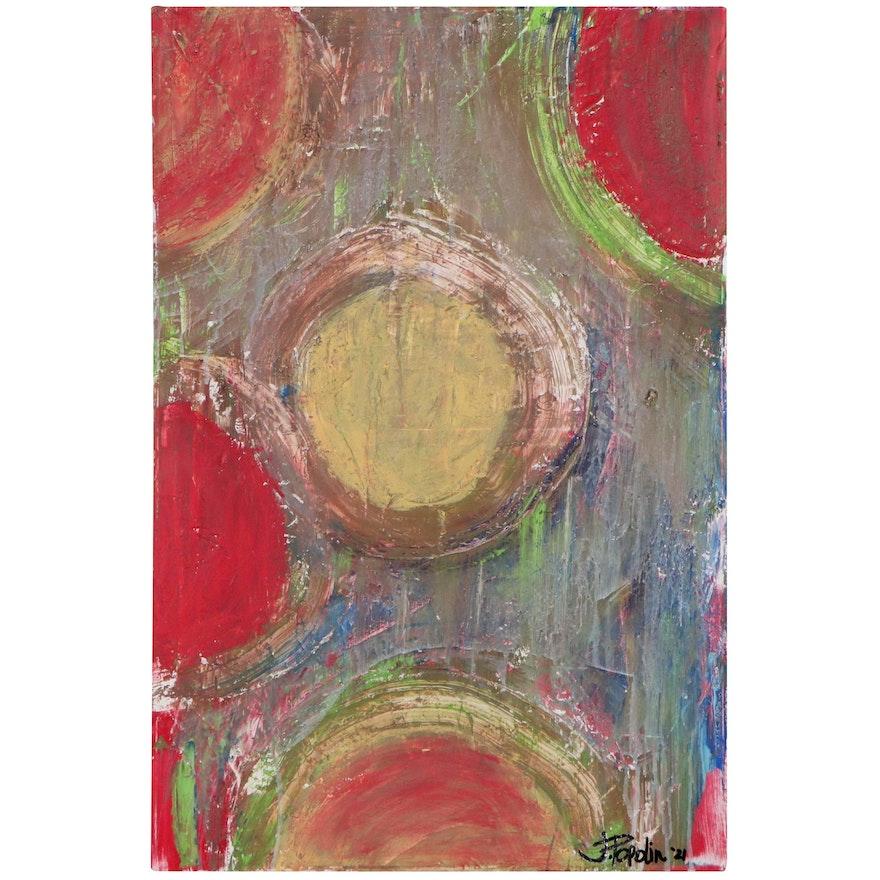 "J. Popolin Acrylic Painting ""Pickle Ball,"" 2021"