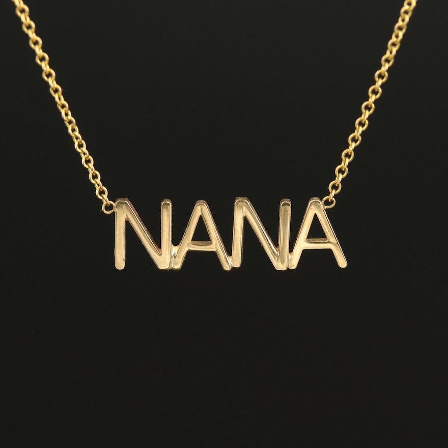"14K ""NANA"" Nameplate Necklace"