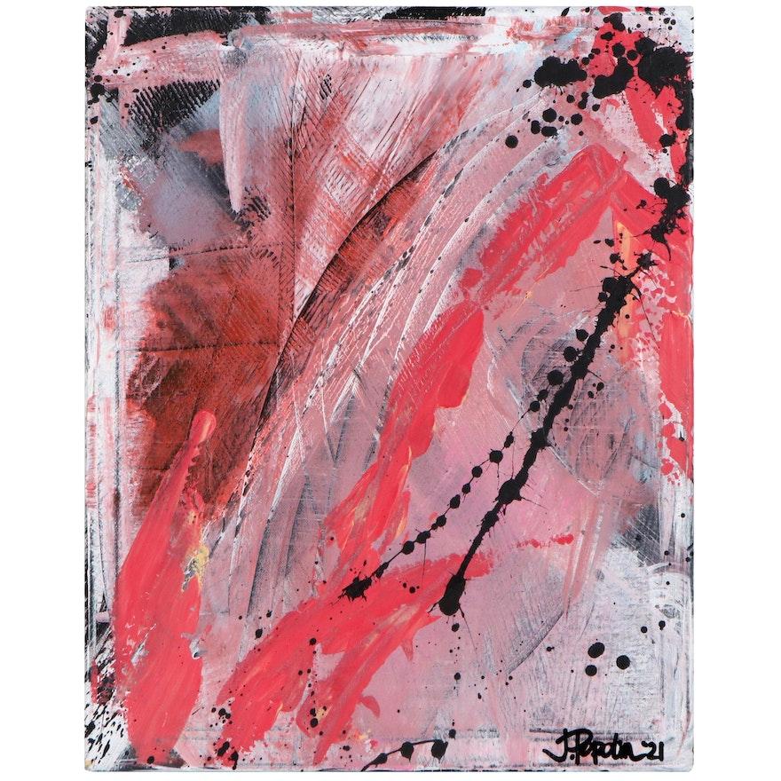 "J. Popolin Acrylic Painting ""Salmon Migration,"" 2021"