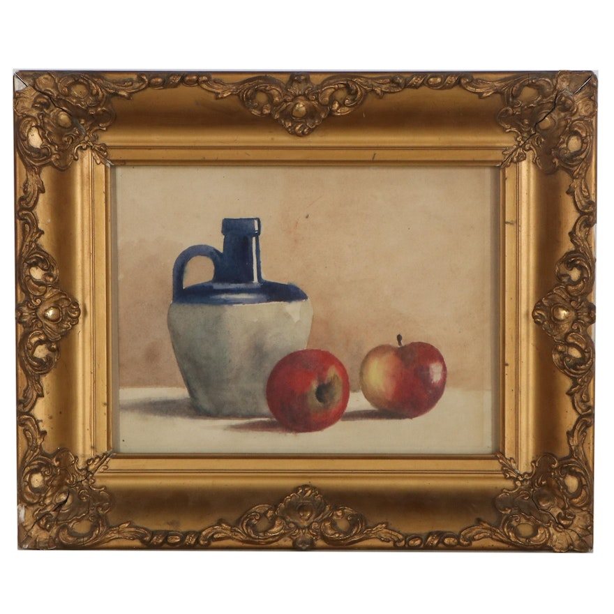 Still Life Watercolor Painting of Jug and Apples