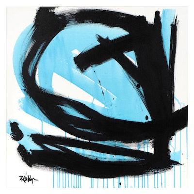 "Robbie Kemper Acrylic Painting ""Blue Runs Black"""