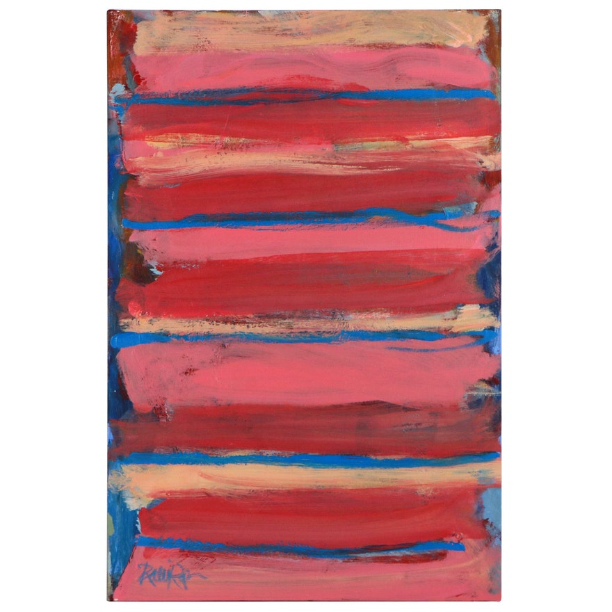 """Robbie Kemper Acrylic Painting """"Four Repetitive Stripes"""""""