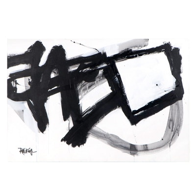 """Robbie Kemper Acrylic Painting """"Black With Fades"""""""
