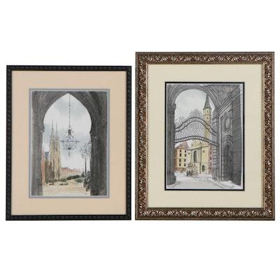Hand-Colored Digital Prints of Paris and Vienna, Circa 2000