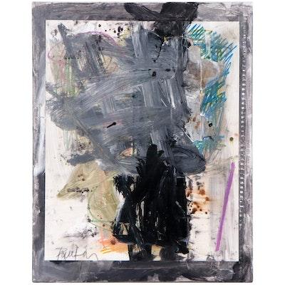 "Robbie Kemper Abstract Mixed Media Painting ""Diagonal Pastel Mark"""