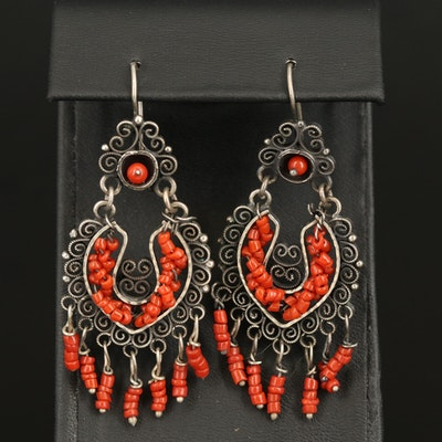 Sterling Faux Coral Fringe Earrings with Scroll Detail
