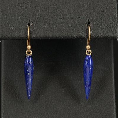 14K Lapis Lazuli Tapered Drop Earrings