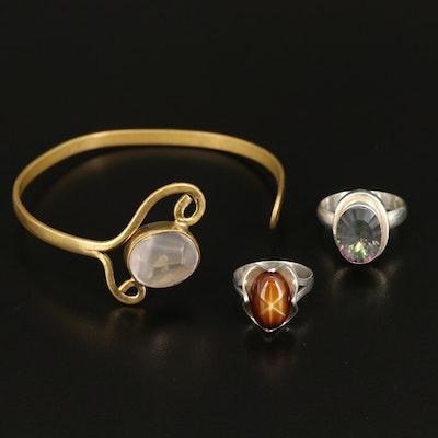 Rose Quartz Cuff and Sterling Rings Including Mystic Quartz