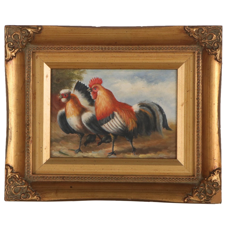Oil Painting of Chickens, Late 20th Century