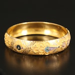 18K Bangle with Enamel, Granulated and Diamond Cut Details
