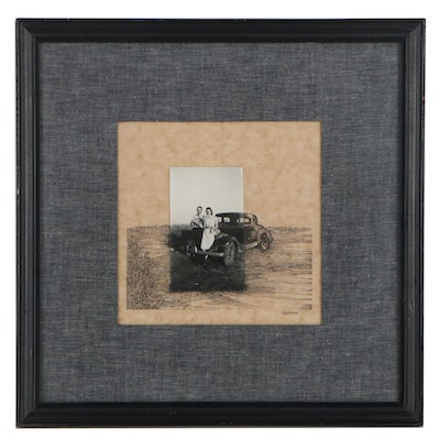 Max Neufeldt Ink and Silver Gelatin Photograph Collage, Late 20th Century