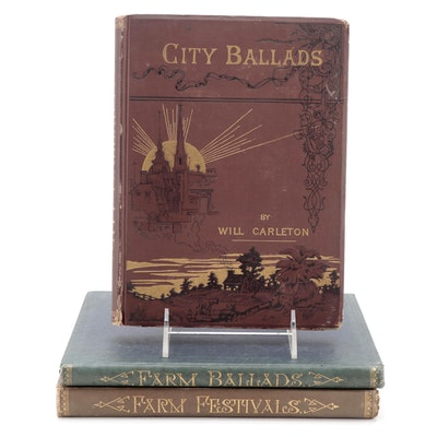 """Will Carleton Book Collection Including """"City Ballads,"""" Late 19th Century"""